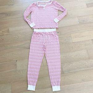Love by Gap snowflake pajama set white pink small